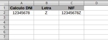 Calculo DNI en Calc LibreOffice